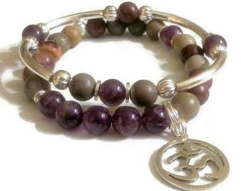 FREE GIFT with purchase Amethyst Artistic Jasper Namaste Om Charm Bracelet Set