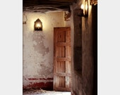 Holiday Sale Let the Light Shine In: fine art photograph print of rustic open door (wood, stone, brown, decay)