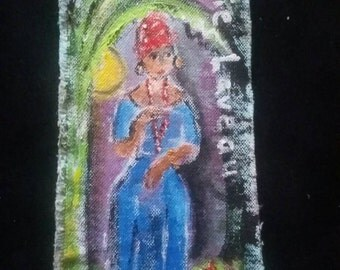 Marie laveau original PeaceSwirl painting under banana trees