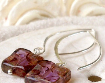 Beaded Dangle Earrings - Glass Beaded Jewelry - Amethyst Bead Earrings - Purple Earrings - Modern Earrings - Sterling Silver Earrings