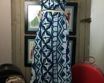 On sale 1960s hawaiian set maxi skirt 2 piece barkcloth skirt and top 60s halter top Diamond Head set Vintage maxi dress