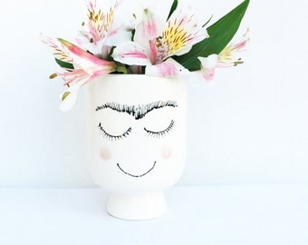 Frida Khalo Vase or Planter, Ceramic planter, Ceramic Flower Vase