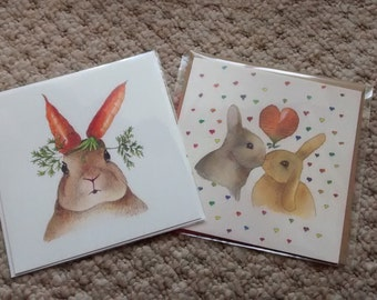 Rabbit greeting card and Rabbit wedding card, engagement or anniversary card - 2 rabbit cards