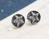 Oxidised Puffy Star Silver Stud Earrings, silver star post earrings, graduation present, Thank you present, Star Earrings, Star Studs,