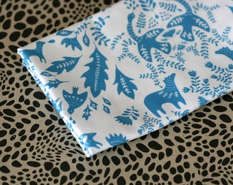 Forest Story - Damask Fabric - Small Piece - Sky Blue on White