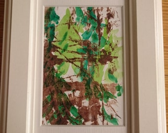 Black Forest, Schwarzwald, original framed mixed media monoprint in oil and watercolour