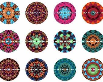 Mandala Magnets, Tapestry Mandalas, Mandala Pins, Mandala Party Favors, Mandala Wedding, Wedding Favors, Kaleidoscope, Multicolor Mandala