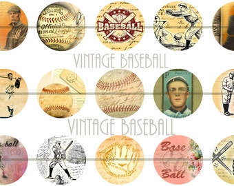 Vintage Baseball Pins, Baseball Magnets, Retro Baseball Pins, Baseball Flatbacks, Baseball Cabochons, Baseball Party Favor, 12 ct. set