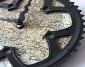 Washington DC Vintage Map Bicycle Clock  |  Map Clock  |  Vintage DC Map Clock  |  Bike Gear Clock