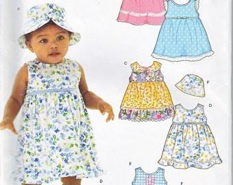 New Look 6472 Baby Girls Sleeveless Dress Sunhat Cap Empire Waist Ruffled Hem Sewing Pattern Sizes NB-L Out of Print UNCUT