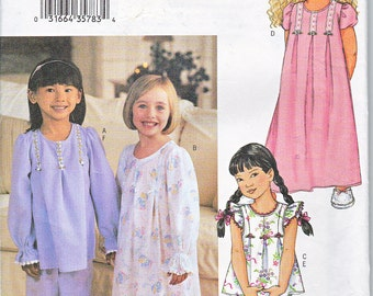 Butterick 3661 Girls Nightgown Pajamas Tops Bottoms Pants Sewing Pattern Sizes 6-8 Out of Print UNCUT