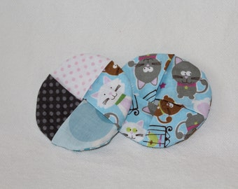 Cats on Blue Fabric Wine Coasters set of 2