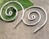 12 Gauge Sterling Spiral Earrings for Stretched Piercings