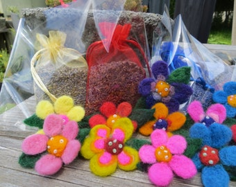 Sweet needle felted flower pin comes with a mesh bag filled with lavender buds