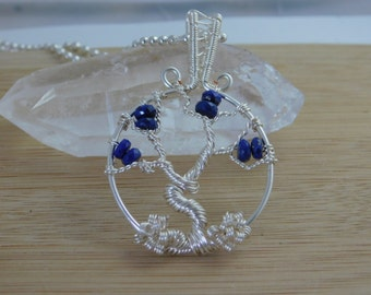 Tree of Life Pendant Necklace Blue Faceted Lapis Lazuli beads Pendant in Silver Parawire Wire Wrapped Jewelry Handmade