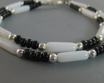 Black and white beaded necklace, mans necklace, heishe necklace, menswear jewelry, surfer necklace, guys adornment, southwest design
