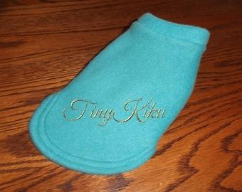 TURQUOISE Fleece Dog Coat/Sweater Yorkie  (xxxs-xxs-xs-s-m-l) or Any Color