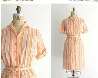 ON SALE ON Sale   50s stripe dress   vintage 1950s sorbet stripe shirt dress   50s pink and orange dress   small