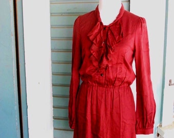 Vintage womens  boho rust colored 1970's dress. size xs/small