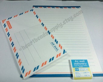 Retro look airmail letter writing set, kawaii stationery, id2719,, scrapbooking, pen pal, back to school, Japan