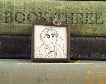 Oscar Wilde Pendant w/ Edward Gorey Book Illustration - Bibliophile Book Lover - Literary Jewelry  - Author Writer - Book Pendant
