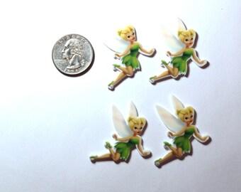 Set of 4 Tinkerbell resin hair bow craft center planar resin