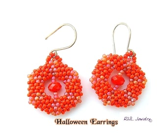 Orange Earrings - Pumpkin Earrings - Halloween Earrings - Peyote -  E2010-50