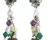 Mardi Gras Earrings, Mask Earrings, Crystal Earrings, Post Earrings, Drop Earrings, Dangle Earrings