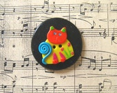 Polymer Clay Colourful Cat button - RESERVED for Delouwa