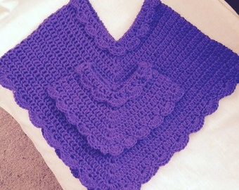 Ponchos, Size 3-4 Girl and 14 inch Dolly Ponchos, purple, hand crocheted