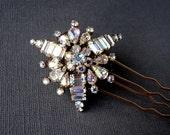 Rhinestone Hair Comb WEISS Jewelry Aurora Borealis Wedding Formal Bridal Accessory AB Crystal Headpiece Vintage Jeweled Headpiece UpCycled
