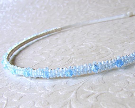 Aqua Blue Headband Swarovski® Crystal and Seed Beaded Diadem Jeweled Hairpiece Bridesmaid Hair Head Band Ballroom Jewelry Pageant Accessory