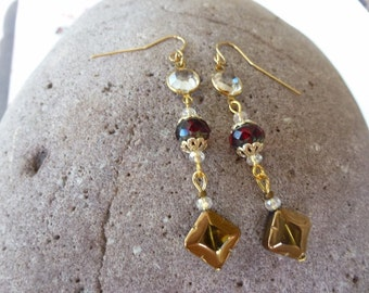 Golden Window Designer Earrings - Handmade Dangle Earrings with Caged Crystal, Red Crystal Bead, Gold Edged Window Bead, Lots of Sparkle