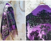 Vintage Antique Victorian French scarf shawl purple dark green black damask silk fringed