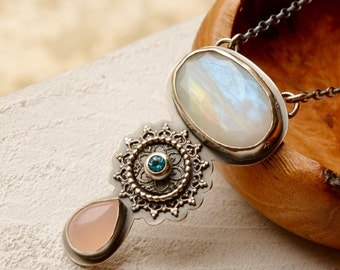 Detailed Rainbow Moonstone Necklace, Silver and Stone Statement Necklace, Gemstone Pendant, Pink Agate Necklace, Artisan Jewelry