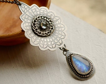 Rainbow Moonstone Statement Necklace, Detailed Silver Metalwork Necklace, Stone Pendant, Swiss Blue Topaz, Metalsmithed Silver and Stone