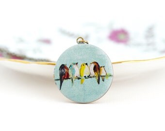 Bird Locket - Gift For Women -  Pale Blue Locket - Photo Locket - Cute Locket - Woodland Locket - Birds - Brass Locket Necklace