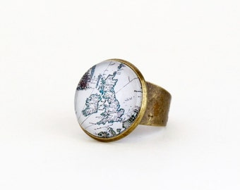 United Kingdom Map Ring - Map Statement Ring - UK Map Ring - Gift For Traveler - Great Britain - Brass Adjustable Ring - Map Jewelry