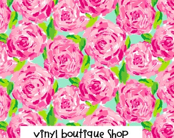 """First Impression Lilly Inspired HTV, pattern vinyl, sheet size 12""""x12"""" , Lily P adhesive printed patterned craft vinyl LP-31"""