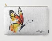 """Monarch Butterfly Watercolor Art, yellow, orange, Pouch, Art Purse, Bag, Abstract Painting art """"Monarch No. 3"""" Kathy Morton Stanion  EBSQ"""