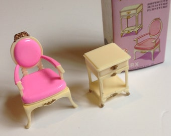 Vintage Marx Dollhouse Furniture Night Table and Ocaasional Chair Little Hostess