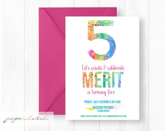Art Birthday Party Invitation - Painting Party - Messy Art Theme - Pottery Painting Birthday - Artsy Birthday Girl - Digital File or Printed