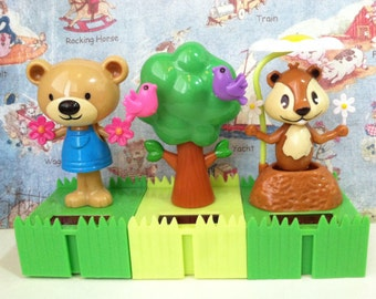 SALE Forrest Friends Trio Set Collectible Solar Dancing WoodlandToys Decor or Birthday Cake Toppers
