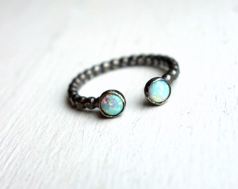 Double Opal Ring- Oxidized Black Sterling Silver - Two Opal Ring - Open Top Ring