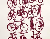 Bicycle Art  Print - Dark Red Bike Chart on Velata Paper