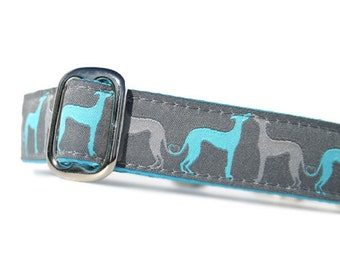 "1"" Dog Collar Hound Amore Aqua - Choose Your Collar Style!"