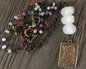 Vintage Jesus pendant old beads repurposed statement necklace