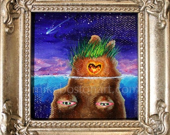 EARTHLING w SHOOTING STAR 3x3 Mini Painting by Mike Boston
