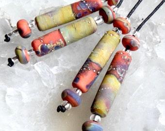 1 Earring Pair * Silvered Orange Raku Tubes *  4 Matching Beads Handmade Lampwork Beads by Beadfairy Lampwork, SRA