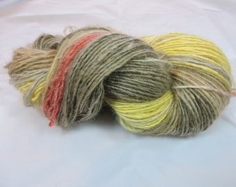 Handspun Gradient Yarn Single Shades of Coral Yellow Fawn and Natural Kid Mohair Alpaca 16-3-20